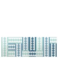 Alfombra cocina vinílica estampado geométrico azul 50x140 cm