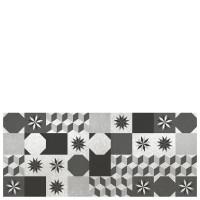 Alfombra cocina vinílica estampado baldosas antiguas blanco y negro 50x140 cm