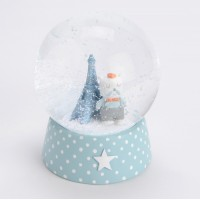 Bola de nieve infantil azul con lunares osito en Torre Eiffel