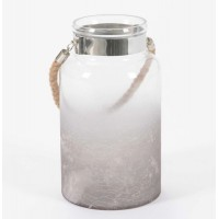Porta velas cristal botella con asa de cuerda degradado 17xh30cm