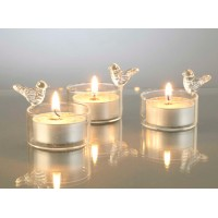 Tea light vidrio con pajaro 7xh5cm