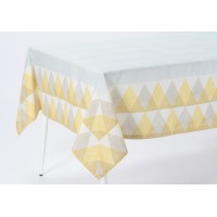 Mantel algodón estampado geométrico mostaza 150x150cm