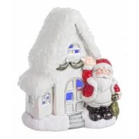Casita cerámica blanca decoración navideña Papa Noel con luz led 16,3x11,6xh19cm