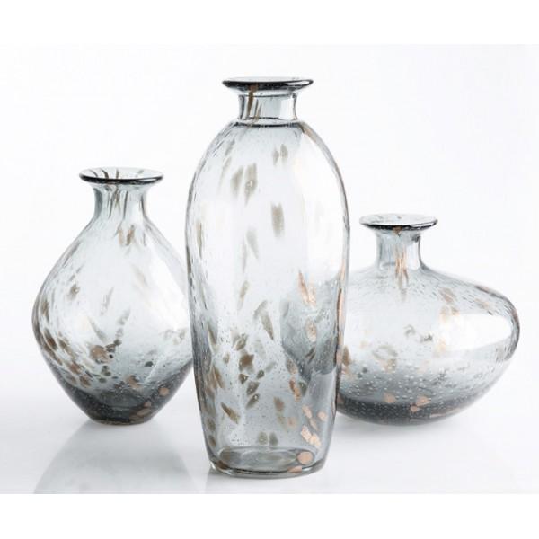 Jarr n florero cristal translucido gris y dorado 18x43cm for Jarron cristal decoracion