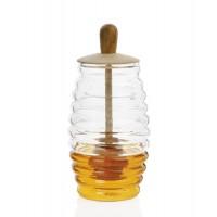 Tarro cristal para miel con tapa madera 7,5xh15cm