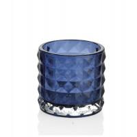 Vaso cristal azul con relieve tealight 7,5xh7cm