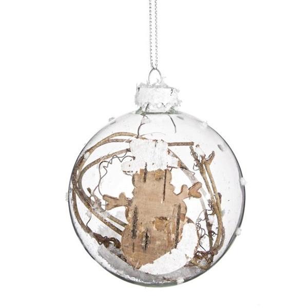 Bola rbol de navidad cristal rustic ramas y nieve 8cm - Bola nieve cristal ...