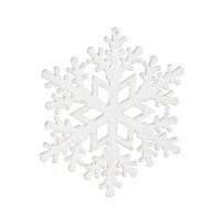 Adorno árbol de Navidad en plástico copo de nieve blanco con purpurina 12cm