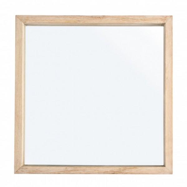 Espejo cuadrado marco marr n claro 42x42cm decoraci n espejos for Espejos cuadrados grandes