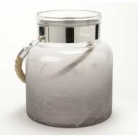 Porta velas cristal botella con asa de cuerda degradado 17xh20cm