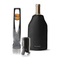 Set promocional para cava: Sacacorchos + Tapón + Funda enfriadora Le Creuset negro PROMO -20%