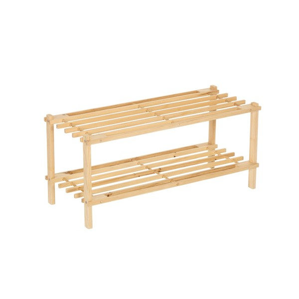Zapatero 2 baldas madera abeto 64x26x29 50 cm decoraci n orden for Zapatero 50 cm ancho