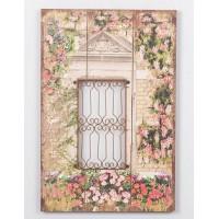 Cuadro con forja ventana con flores 40x60 cm