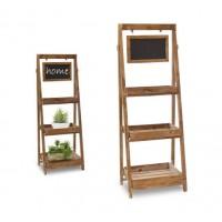 Estantería auxiliar 3 baldas madera natural con cartel pizarra 43x30x120cm