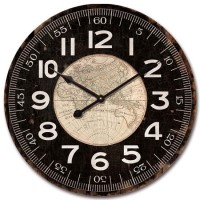 Reloj de pared mdf mapa mundi marrón 60cm