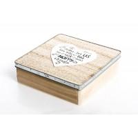 Caja madera para te borde metálico 25x25x7cm