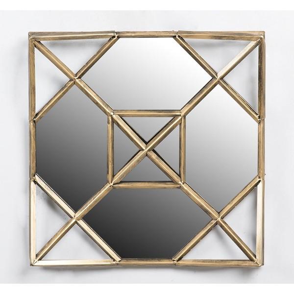 Espejo cuadrado marco met lico dorado envejecido 50x8x56cm for Espejo cuadrado sin marco