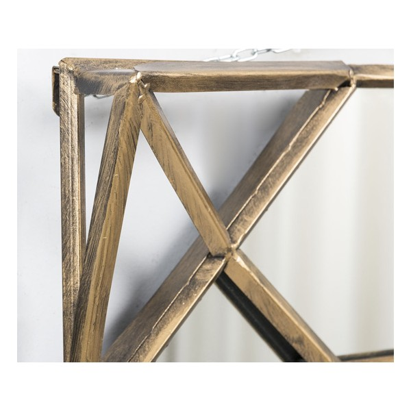 Espejo cuadrado marco met lico dorado envejecido 50x8x56cm for Espejos con marco metalico