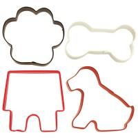 Set 4 cortadores metálicos Mascota: Huella De Perro, Hueso, Casa De Perro Y Perro Wilton