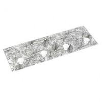Perchero cristal decorado hojas negras con 4 colgadores 36x12cm