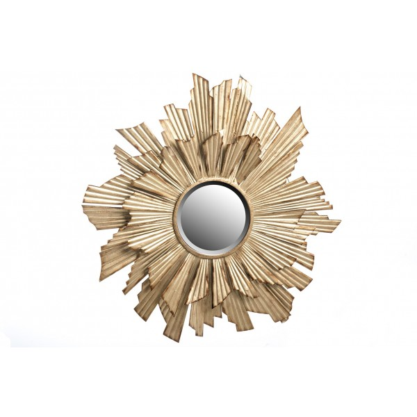 Espejo redondo marco met lico dorado sol 93cm decoraci n for Espejo marco dorado