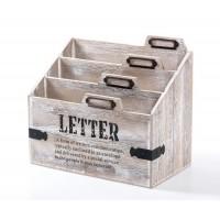 Soporte para cartas correo madera Letter 3 divisiones 25x14x22cm