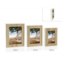Marco fotos exterior blanco y madera 10x15cm