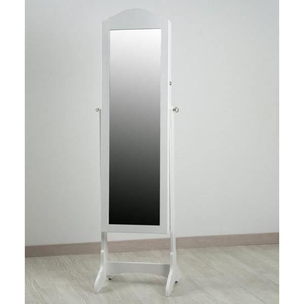 Espejo madera blanco joyero con pie 43x40x160 cm for Espejo pie blanco