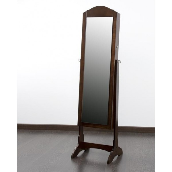 Espejo madera marr n joyero con pie 43x40x160 cm for Espejos de pie de madera