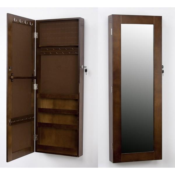 Espejo marco madera marr n joyero de pared 36x10x100cm for Espejo pared madera