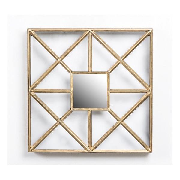 Espejo marco met lico dorado geom trico 50x50cm decoraci n for Espejo marco dorado