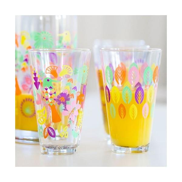 Set 4 vasos para refrescos cristal decorado colores - Vasos grandes cristal ...