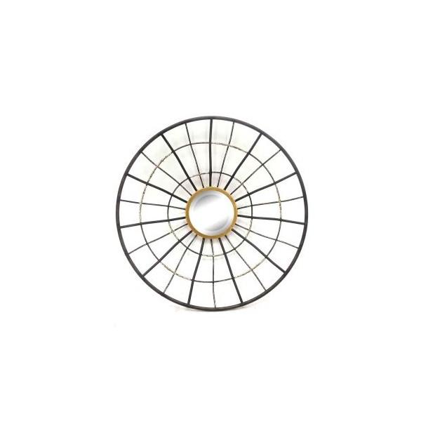 Espejo redondo marco met lico negro y dorado 46x9 5x46cm for Espejo redondo grande