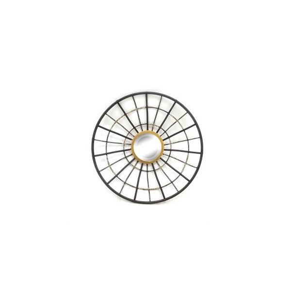 Espejo redondo marco met lico negro y dorado 38x6 5x38cm - Espejo marco negro ...