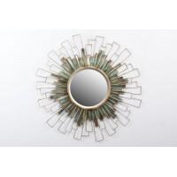 Espejo redondo marco metálico dorado rectángulos 87x90,5 cm