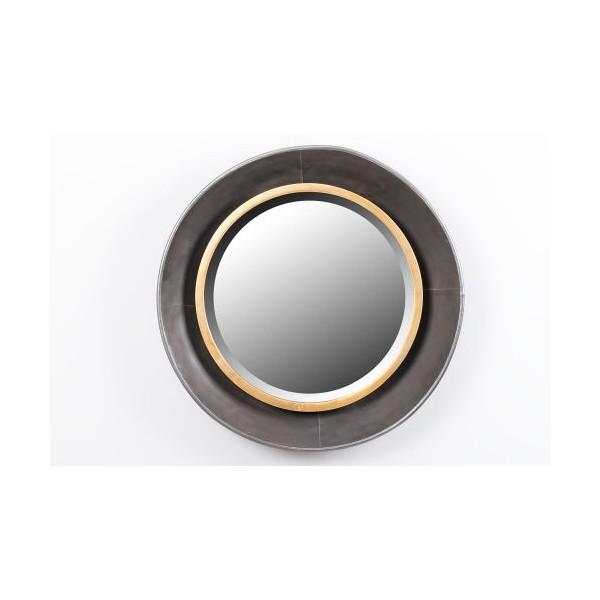 Espejo redondo marco met lico dorado y negro 60x8cm decoraci n for Espejo marco dorado