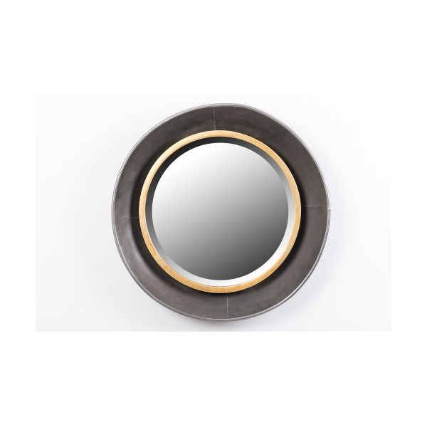 Espejo redondo marco met lico dorado y negro 60x8cm decoraci n for Espejo redondo negro