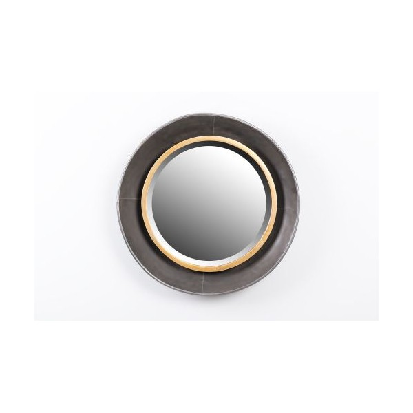 Espejo redondo marco met lico dorado y negro 51 5x7cm for Espejo redondo negro