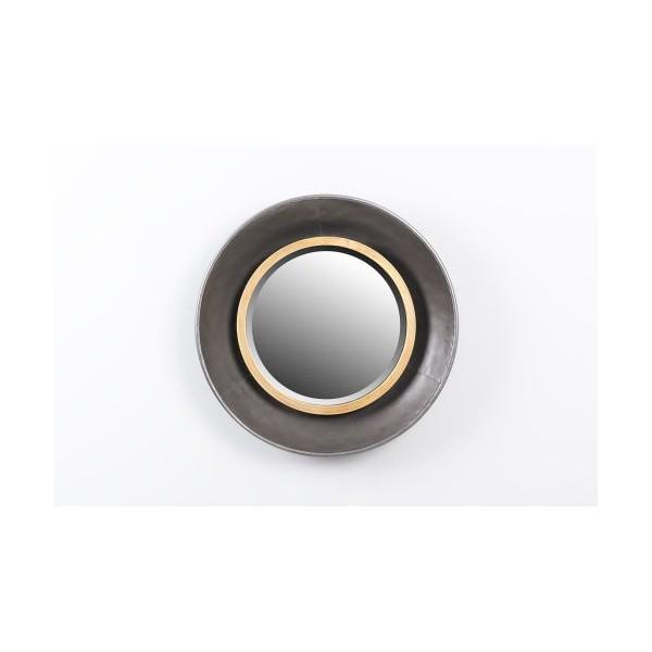 Espejo redondo marco met lico dorado y negro 44x7cm decoraci n for Espejo redondo grande