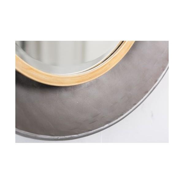 Espejo redondo marco met lico dorado y negro 44x7cm decoraci n for Espejo marco dorado