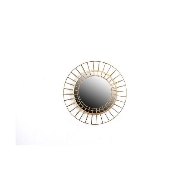 Espejo redondo marco met lico dorado onda doble peque o 39 for Espejo redondo pequeno
