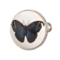 Tirador cerámico redondo blanco estampado mariposa azul 3 cm