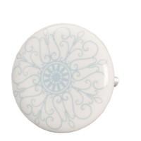 Tirador cerámico redondo blanco estampado arabesco azul 4 cm