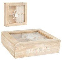 Caja madera joyero con tapa cristal 17x17x4 cm