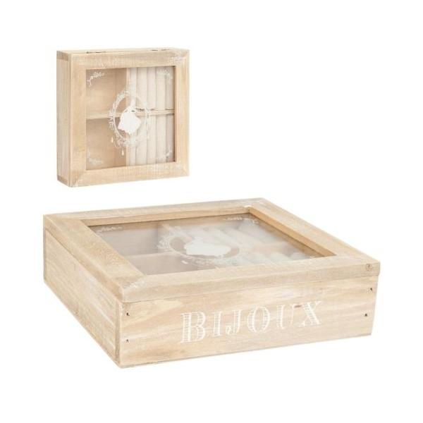Caja madera joyero con tapa cristal 17x17x4 cm regalos para - Caja joyero ikea ...