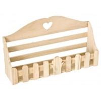 Estantería madera natural con corazón 32x8x18h
