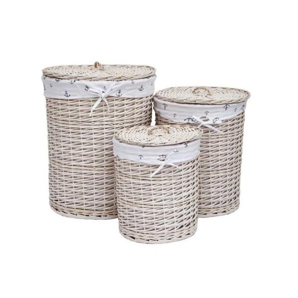 cesto redondo de mimbre forrado tela anclas para ropa con tapa xh cm