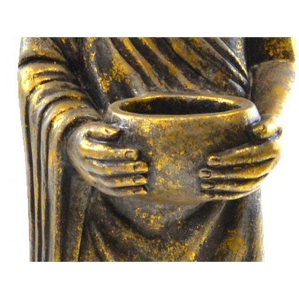 Figura resina buda alto portavelas dorado 21x23x76cm decoraci n - Figuras buda decoracion ...