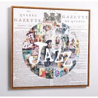 Cuadro lienzo cuadrado serigrafiado periódico Jazz 70x70cm