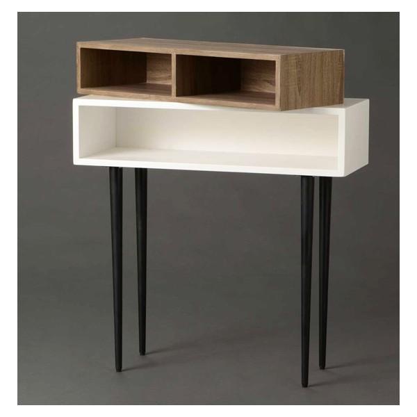 Consola mdf blanca con casillero m vil pata negra 80x30x80h cm - Tavolino porta microonde ...